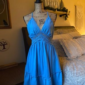 Dresses & Skirts - Blue Boho Crochet Open Back Dress Size Small
